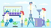 Science laboratory with plants, people group men women teamwork vector illustration. Scientists at biochemical research.