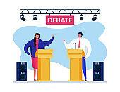 Debate speach vote vector illustration. Man woman having dispute in order attract voters their side. Speakers raise hands.