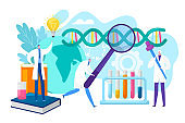 Laboratory research concept, vector illustration. Science, chemistry, biology, pharmacy and scientists researchers with pipette and flask.