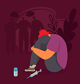 Drug addiction vector illustration. Abused addicted young man or teen sit near drugs and syringe for narcotic injection.