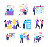 Business task management with people team vector illustration.