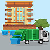 Garbage truck van car dustcart collections trash and dumpsters cans near city dwelling house vector illustration. Waste disposal removal recycling concept.