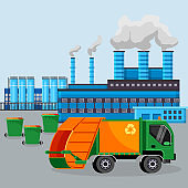 Garbage car on smoking factory industry chimneys background vect