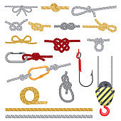 Knots set vector illustrations, rope with loop, hook, snap for c