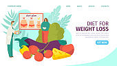Diet and weight loss landing page vector illustration. Nutritionist and diet plan with vegetables, fruit and fat woman. Nutrition diet.