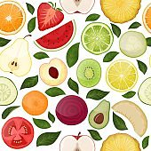Fresh seamless pattern with slice vitamin fruits vegetables on nature food fruity vector hand drawn illustration isolated on white