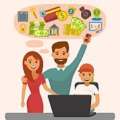 Family online banking with laptop vector illustration. Money fin