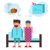 Cartoon couple before going to sleep in bed vector illustration.
