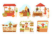 Stall market shops set of sellers at counter and food, isolated vector illustrations. Market sellers at kiosks with vegetables.