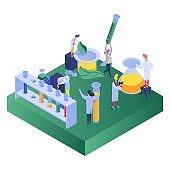 Chemistry, experimental science, men and women conduct trial experiments various substances design, cartoon vector illustration.