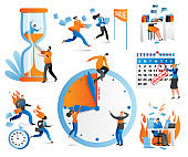 Time management icons human characters with task, checkboxes, clock, deadline set of vector ilustration. Distribution of priority of tasks.