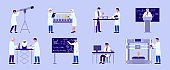 Scientist in lab research vector illustration, cartoon people making experiment test in science laboratory isolated set