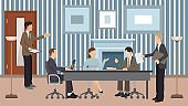 Business people group meeting and teamwork in office room vector illustration.