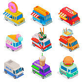 Isometric food truck vector illustration, street truck in market