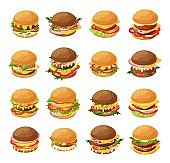 Isometric burger vector illustration set, 3d cartoon fresh different hamburgers for fast food cafe menu icon set isolated on white