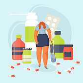 Woman with clinical depression among giant medications, drugs vector illustration.