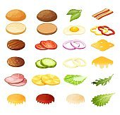 Isometric burger sandwich constructor vector illustration, 3d cartoon menu ingredients for hamburger icon set isolated on white