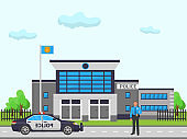 City police station vector illustration. Cop man officer at work standing outside in front of police department building authority facade near police patrol car.