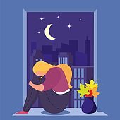 Girl in depression sits near window in room, young, sad woman alone and anxious, design, cartoon style vector illustration.