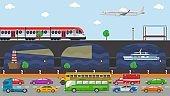 City transport concept vector illustration. Urban road embankmen