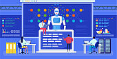 Artificial intelligence, neural network vector illustration, cartoon flat tiny people networking, futuristic ai technology background