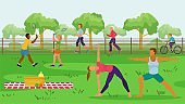 Sport people in park outdoor vector illustration. Flat activity at nature, man woman character ride bicycle, doing exercise