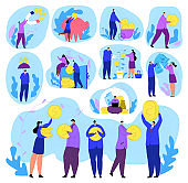 People with money set of finance, business and rich men, women with big golden coins, banking, economy and profit concept isolated vector illustration.