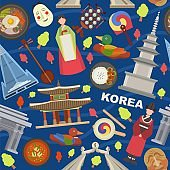 Korea landmarks and symbols vector illustration seamless pattern. Tourists trip invitation advertising to Korea. People in traditional clothes, architecture, food, mask.