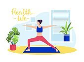 Young girl doing yoga at home. health life vector illustration. Woman character in sportswear stretch body, exercises on rug.