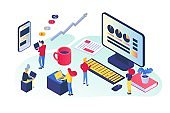 Business analysis at office, isometric vector illustration. Teamwork developing successful strategy, marketing growth chart.