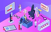 Isometric medical research concept, vector illustration. Scientists teamwork at laboratory, innovate technology. Man and woman