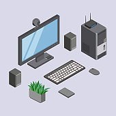 Computer and digital equipments, devices at desktop workplace ve