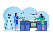 Cooking online streaming, female character brew internet broadcasting host isolated on white, flat vector illustration. Broadcast woman prepare food.