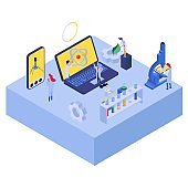 Nano technology research with atom, vector illustration. Science nanotechnology isometric banner, medicine engineering in lab