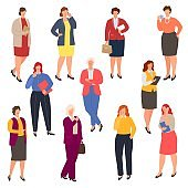 Business woman plus size vector illustration, curvy overweight b