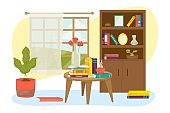 Home room interior with book furniture shelf design vector illustration. House library background, cozy lamp decoration for study.