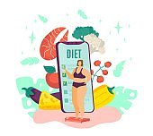 Overweight woman on diet, fat female and healthy dietary food with diet program from dietitian on smartphone isolated vector illustration. Healthy lifestyle for obese person, weight losing