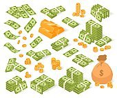 Isometric money vector illustration set, cartoon 3d bundles of dollar banknotes, coin bag sacks and money stacks, gold bar isolated on white