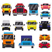 Car vector front view auto delivery transport offroad automobile