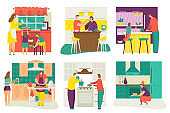 People cooking at home kitchen, serving table, children learning to cook food set of cartoon flat isolated vector illustration.