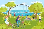 Park with cartoon river, man woman summer outdoor rest vector illustration. People activity leisure at nature, family character vacation lifestyle.