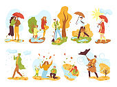 People in autumn season set of isolated vector illustrations. Men and women in fall outdoor under rain with umbrella, in autumnal park.
