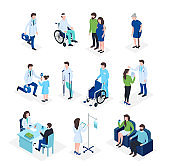 Isometric doctors and patients medical healthcare, medicine insu
