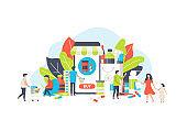 Online pharmacy medicine vector illustration. Medical service for buy and sell drugs, online pharma commerce shop concept