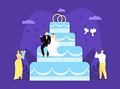 Large wedding couple cake concept, vector illustration. Bride groom character on festive dessert with rings, romantic event