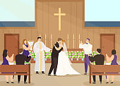 Wedding ceremony in church vector illustration, cartoon happy couple characters getting married and kissing in chapel interior background