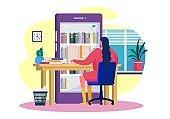 Reading books online, vector illustration. Smartphone library application, bookshelves in screen. Girl character learning