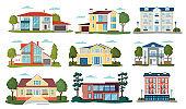 Modern house vector illustrations, cartoon flat home apartment,