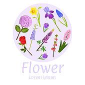 Floral flower card design vector illustration. Natural botanical circle frame garden lavender, rose, iris and narcissus flowers decorative composition. Floral poster, quote copy space.