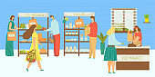 Eco market, people at organic store vector illustration. Cartoon fruit food retail sale in grocery, vegetable shop. Flat local